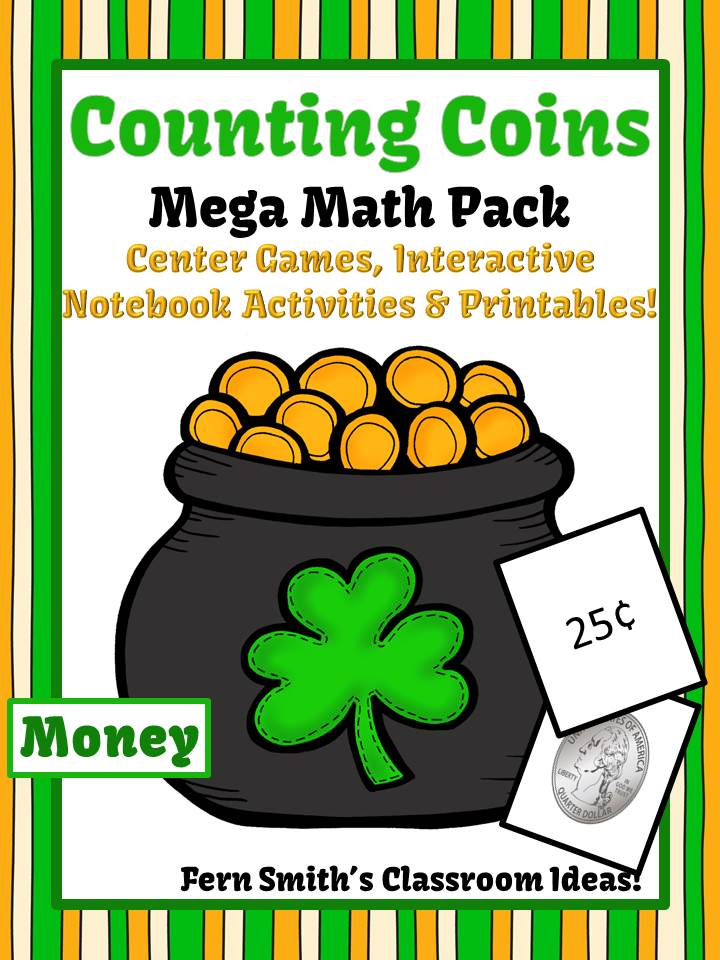 Fern Smith's Classroom Ideas St. Patrick's Day Counting Coins Mega Math Pack