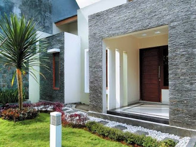 desain teras rumah minimalis dengan batu alam full