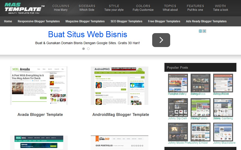 website, penyedia, template, blogger