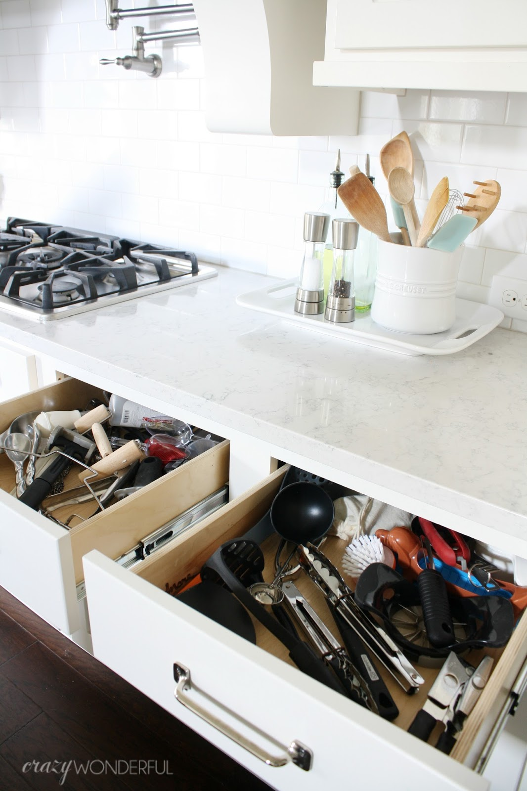 Diy custom kitchen drawer organizers crazy wonderful for Premade kitchen drawers