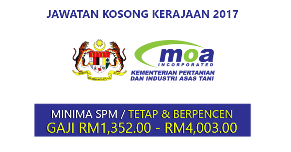 Jawatan Kosong di Kementerian Pertanian & Industri Asas Tani MOA