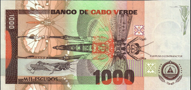 Cape Verde 1000 Escudos banknote 1992 Grasshoppers and Locusts