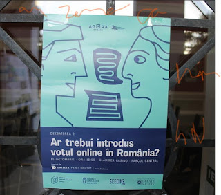 photo of poster on the electronic or online vote debate on a glass display or vitrina