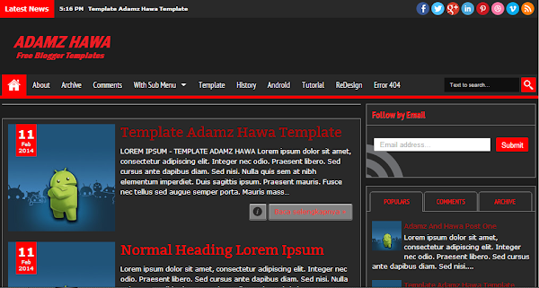Adamz Hawa Simple Red Blogger Template