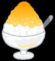 かき氷のイラスト(マンゴー(オレンジ))