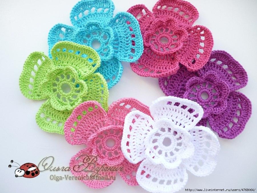 мир хобби миленькие вязаные цветочки вязание крючком