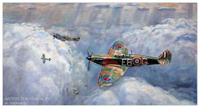 Pintura avion Spitfire de la batalla de Inglaterra