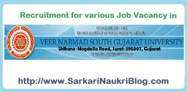 Naukri Vacancy Recruitment VNSGU Surat Gujarat