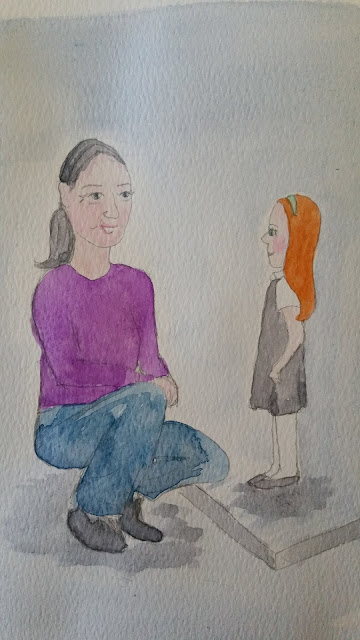 School Girl and Older Mum Drawing and Watercolour