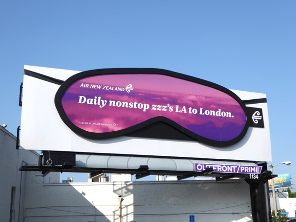 Air New Zealand 3D sleep mask billboard