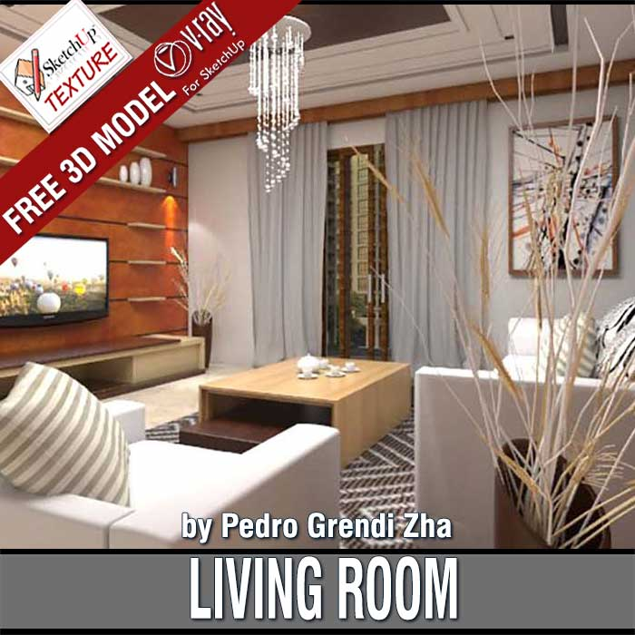 Free Sketchup 3d Model Living Room 44 By Pedro Grendi Zha