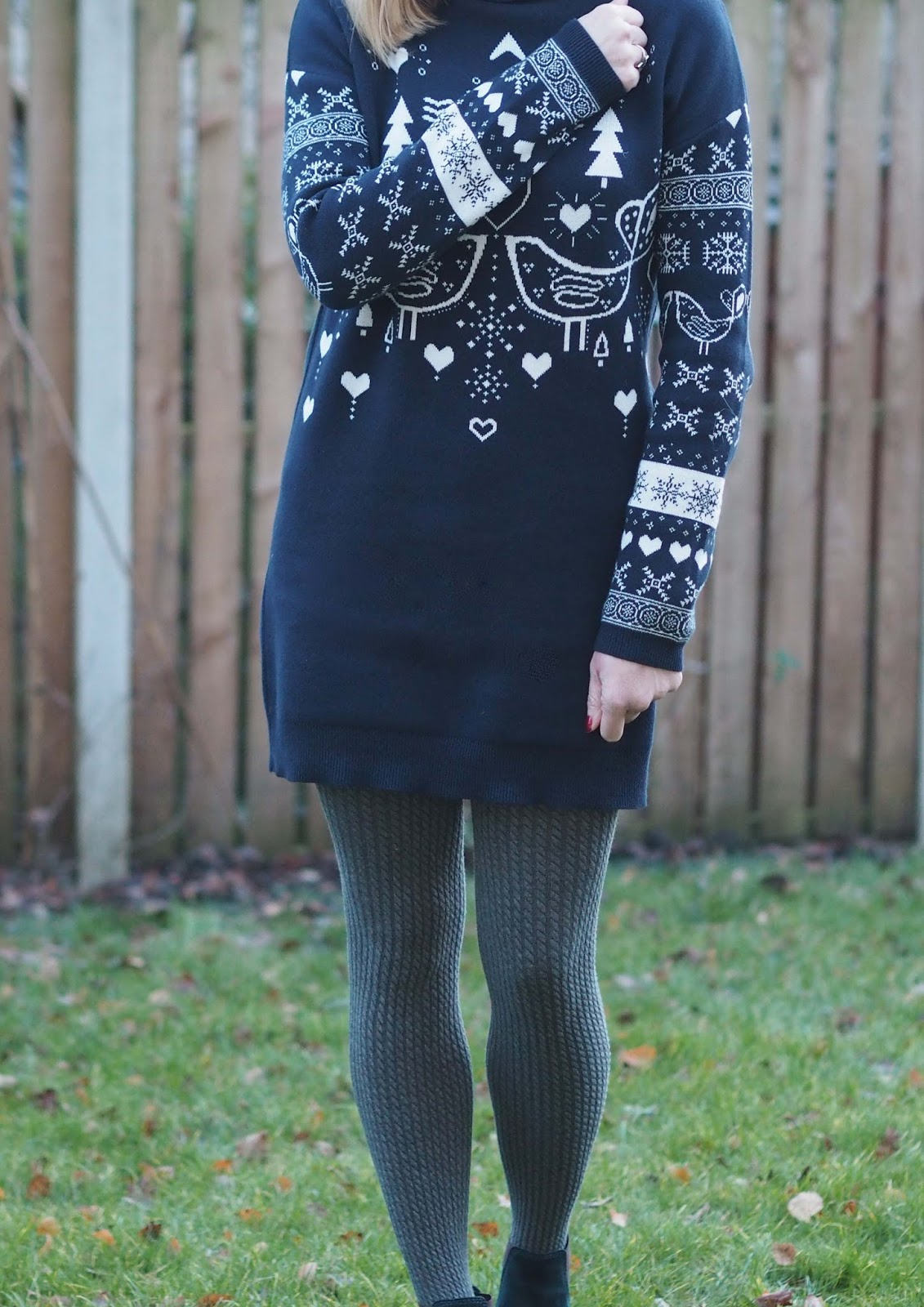 navy lovebird fairisle roll neck sweater dress, cable tights and Chelsea boots