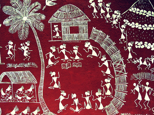 Warli painting in Valwanda. Maharashtra. India