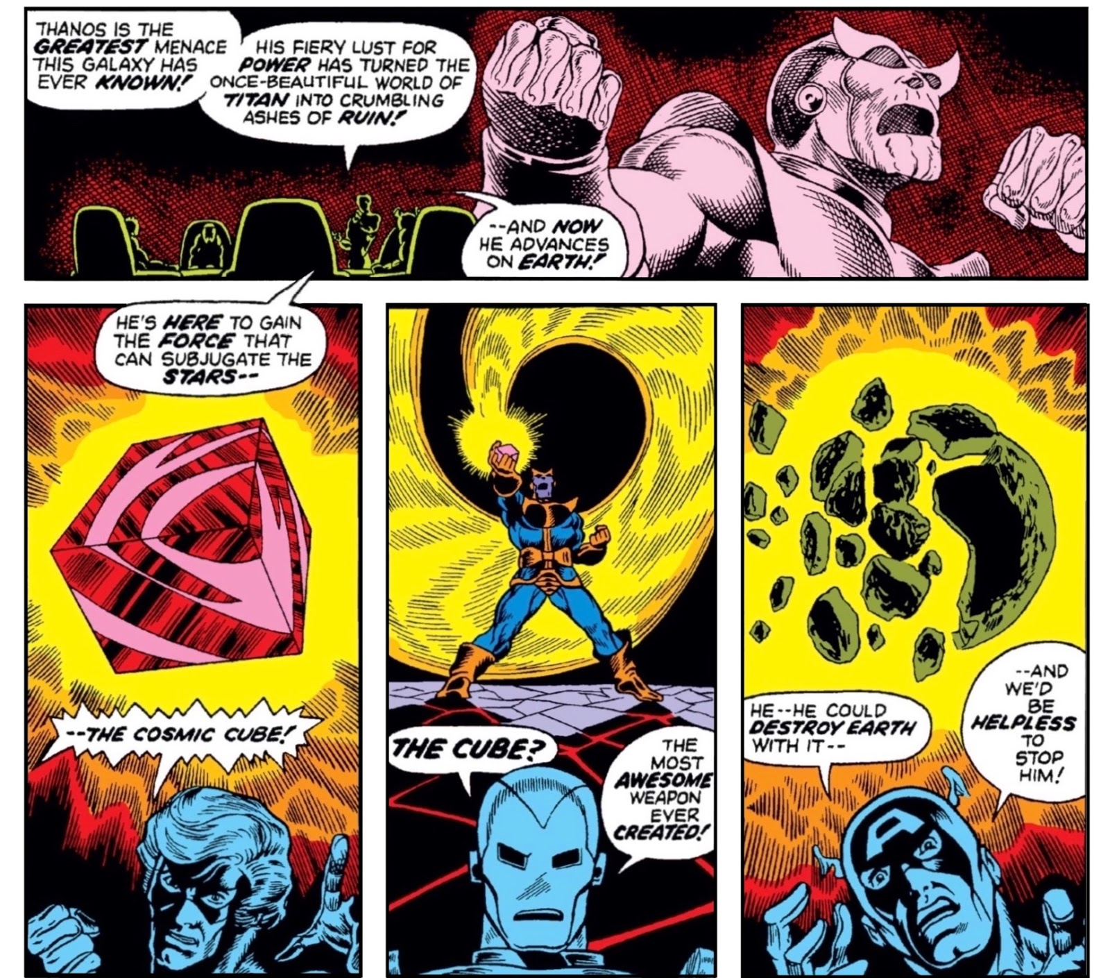 4 panels of Captain Marvel relating Thanos' menace and quest for the Cosmic Cube to Avengers; shown are Iron Man and Captain America