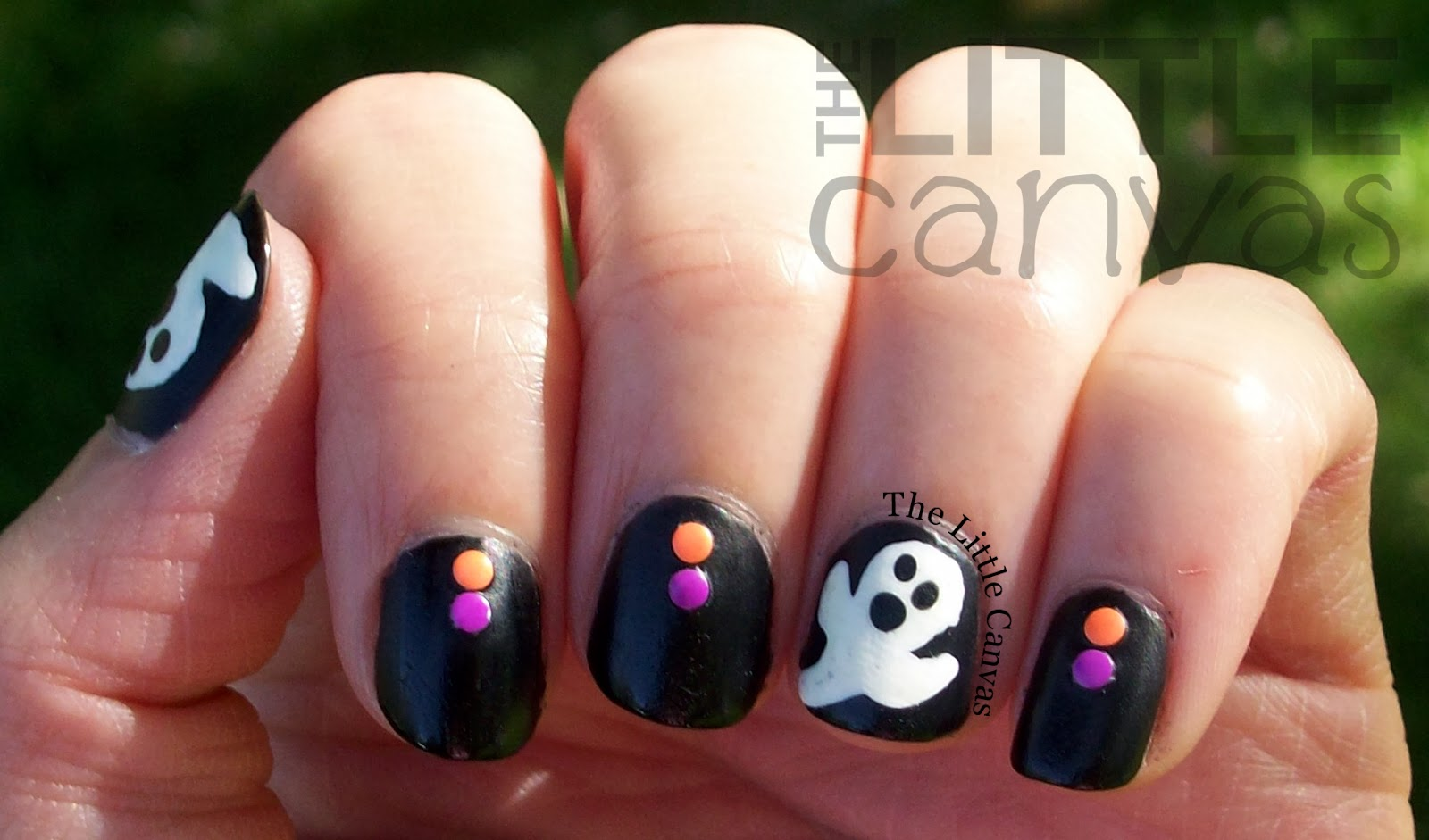 Ghost Nail Art - My First Stud Manicure! - The Little Canvas