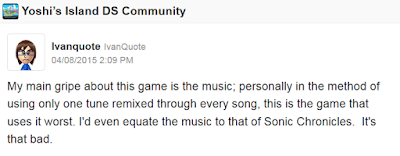 Yoshi's Island DS Miiverse community feedback bad music like Sonic Chronicles