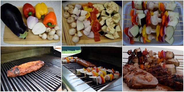 Lomo de cerdo y brochetas vegetales a la parrilla