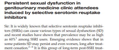 Post ssri sexual dysfunction permanent general