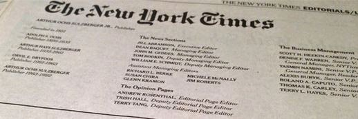 New York Times Masthead - Source: http://www.coons.senate.gov/blog/post/new-york-times-makes-case-for-election-reform