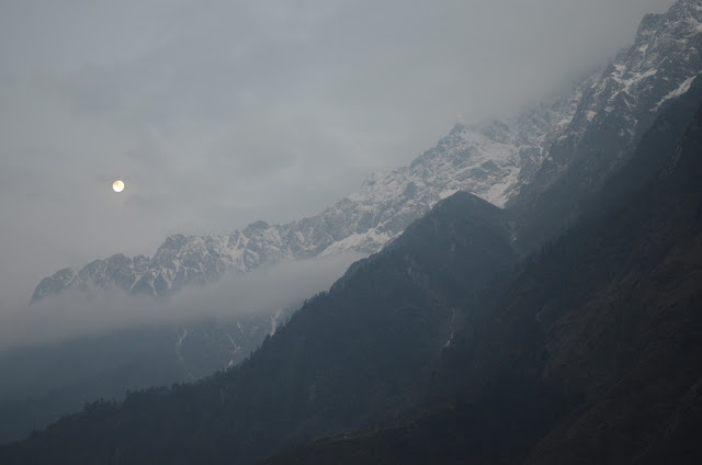 Moonlit Morning, Snow capped mountains, Lachung, North Sikkim