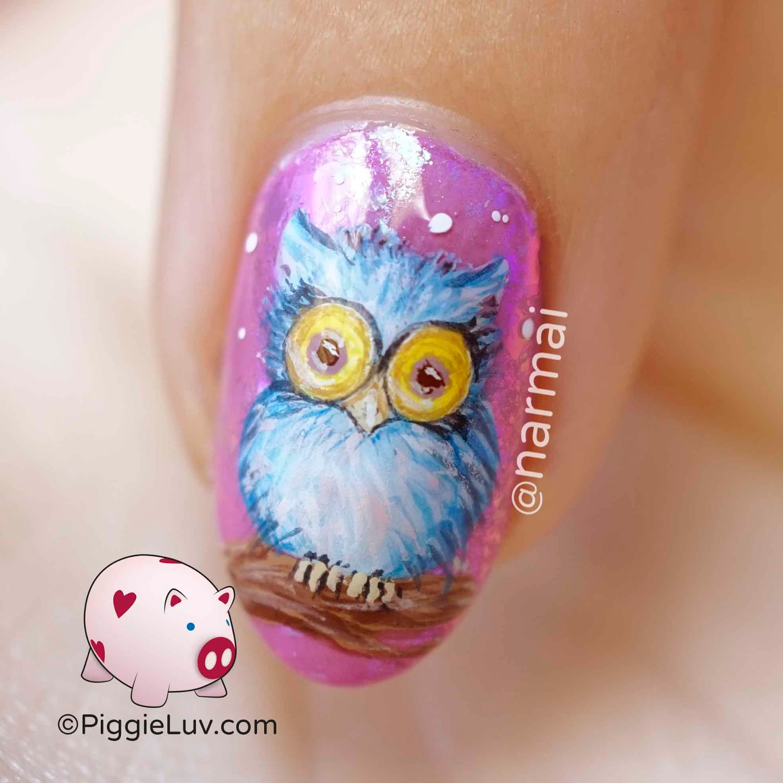 Piggieluv fluffy owl nail art i started with the base i used models own persian pink and added whats up nails mystery flakies over it for the special effect then i stalled prinsesfo Images