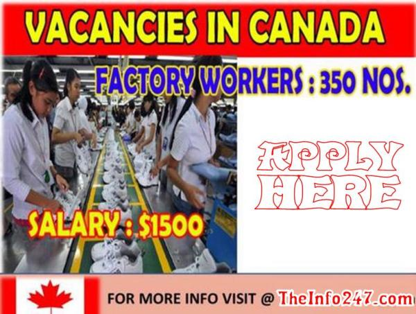Factory Workers Job Vacancies in Canada With Free Visa