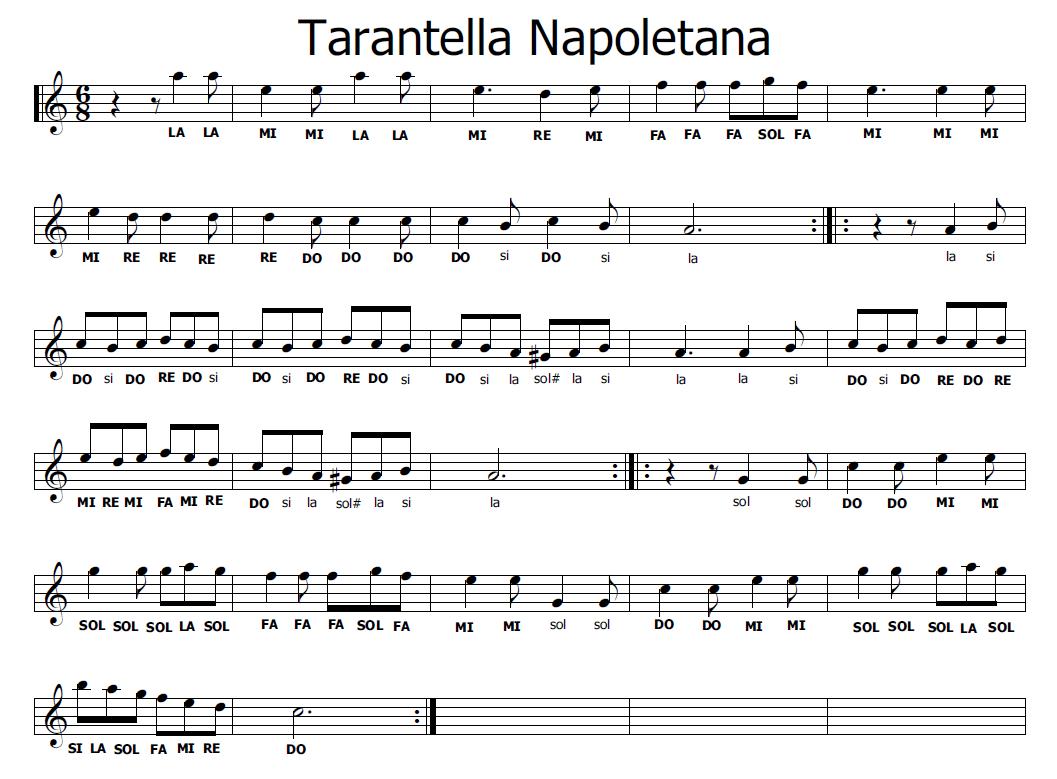 Musica e spartiti gratis per flauto dolce tarantella napoletana - Aggiungi un posto a tavola accordi ...