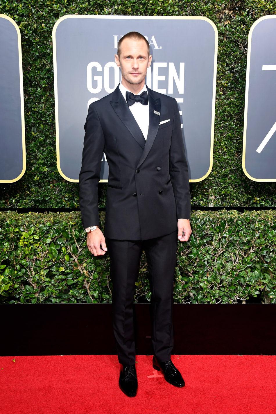 Golden Globes 2018, Red Carpet, Alfombra Roja, Tuxedos, Trajes, Ternos, Hombres, Looks, Outfits, Premiación, Masculinos, Estilismos, Vestir bien, Alexander Skarsgard