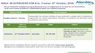 Alembic Pharma Walk In Interview For Freshers at 6 October