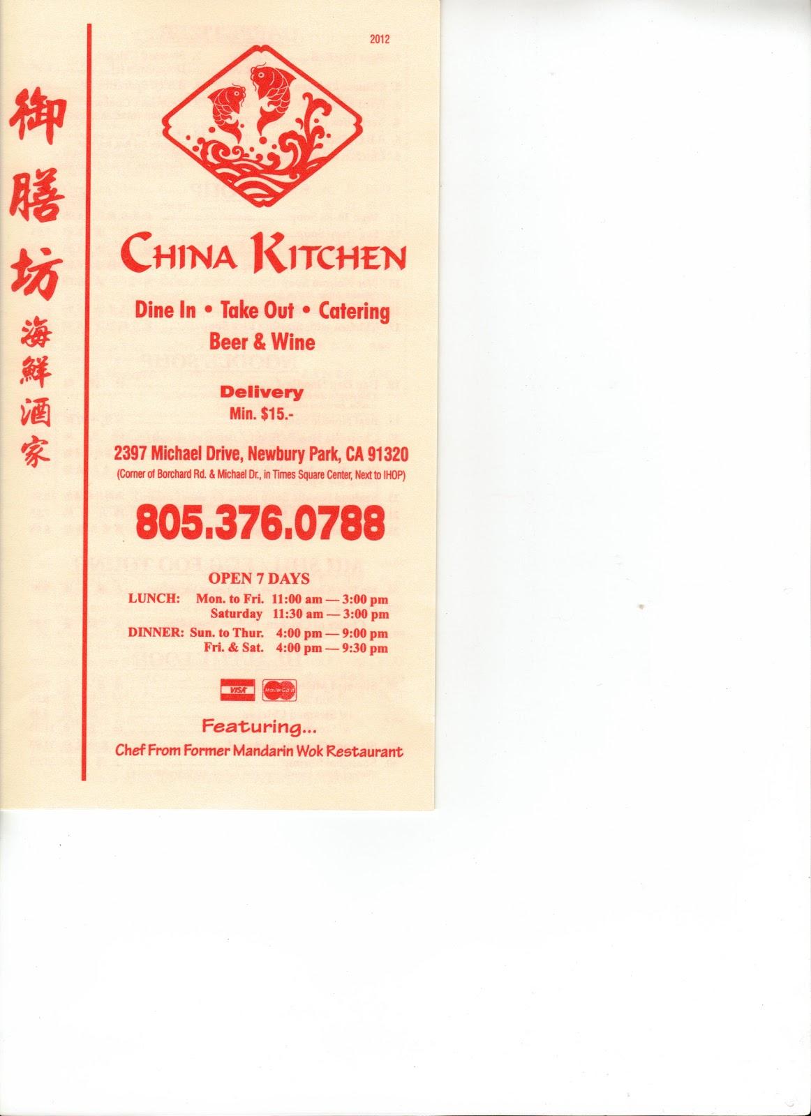 China Kitchen Ventura Ca Menu