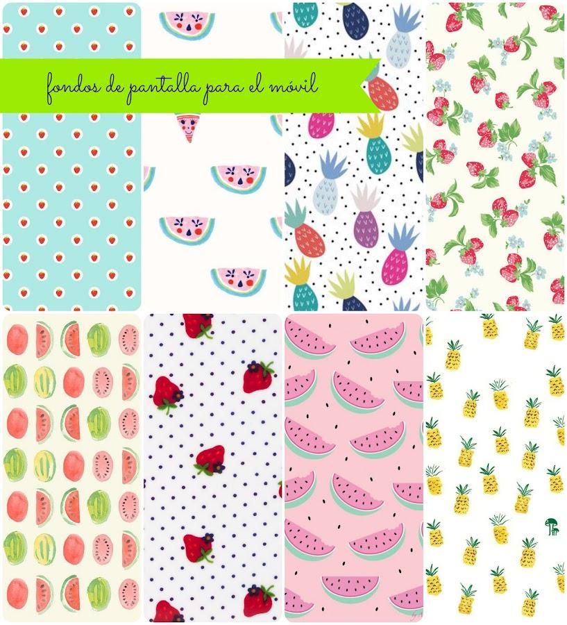 fondos de pantalla para el mo?vil wallpaper background iphone free fresas strawberries pineapples piñas watermelon sandía frutas verano summer