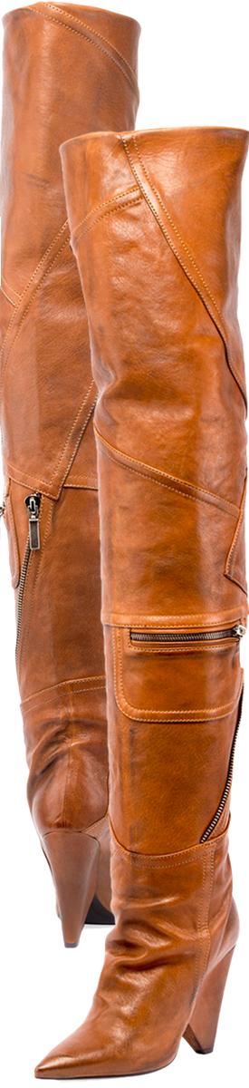 Saint Laurent Niki Leather Zip Over-The-Knee Boot.