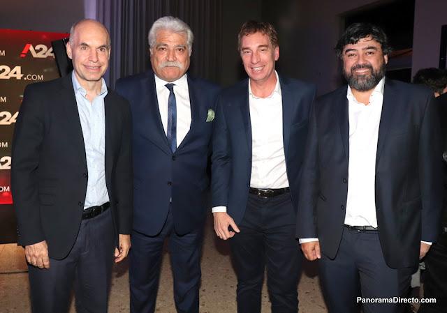 Horacio Rodríguez Larreta, Jorge Asís, Diego Santilli y Juan Cruz Ávila en el lanzamiento de A24.com en La Rural.