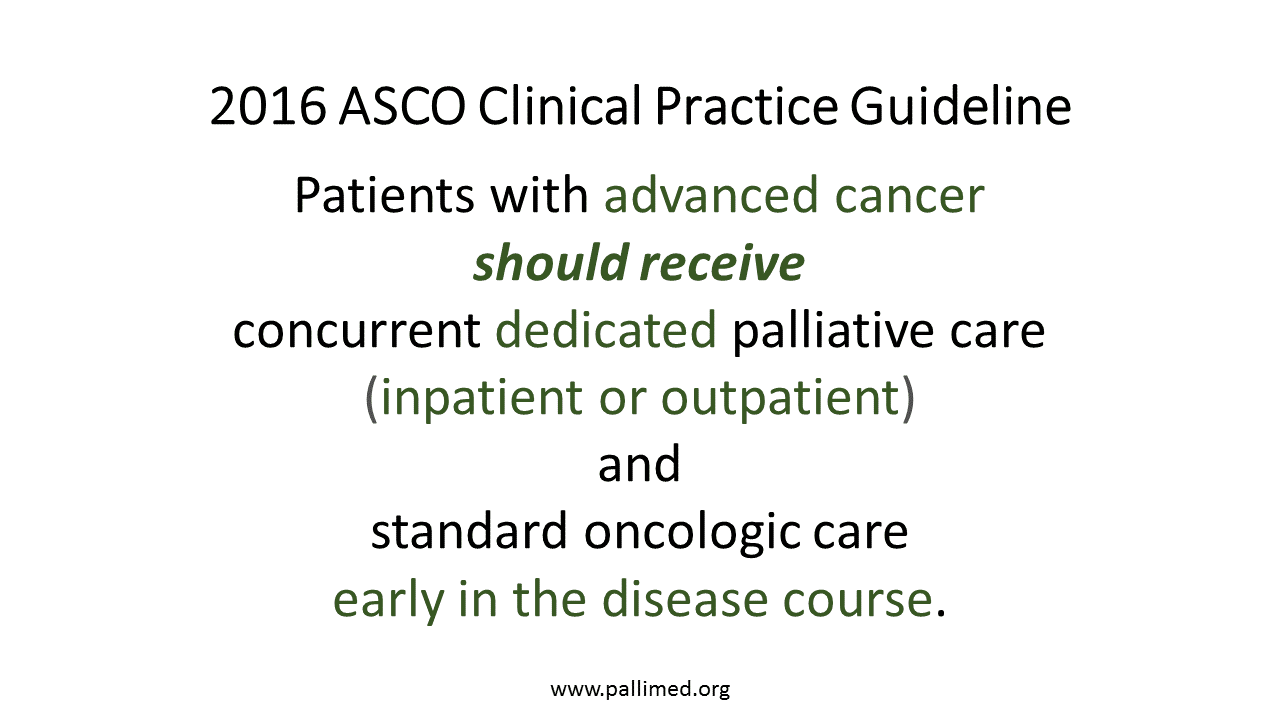 asco supports concurrent palliative care for people advanced so what changed between 2012 and 2016 the 2012 pco focused more on symptom burden and qol instead of focusing on the survival benefit secondary outcome of