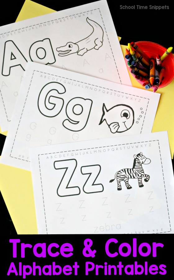Free Trace & Color Alphabet Printables School Time Snippets