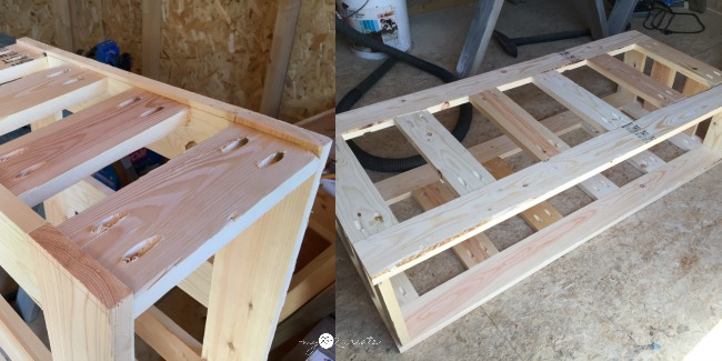 reclaimed wood coffee table frame