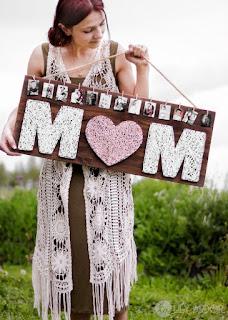 Quadro cornice per la festa della mamma in string art