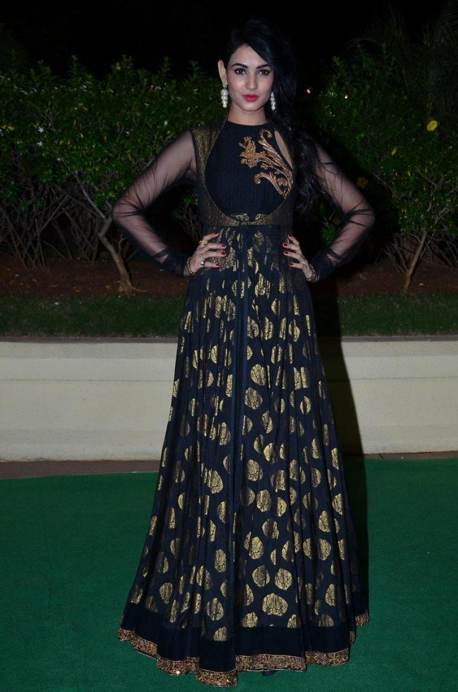 Sonal Chauhan Hot Photos At Wedding Reception In Black Dress