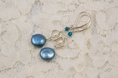 dangle coin pearl earrings blue coin pearls white rice pearls sterling silver rings spring handmade jewelry