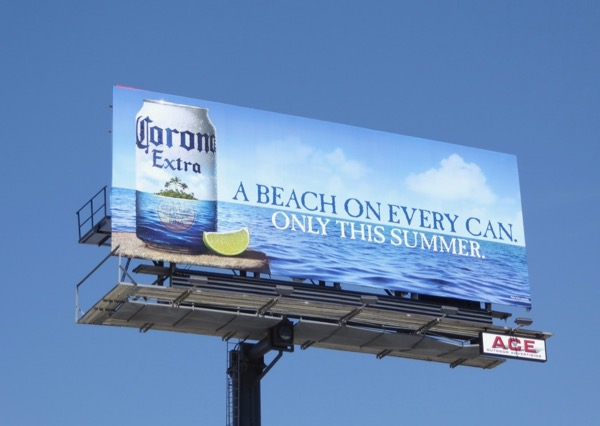Corona Beach on every can summer billboard
