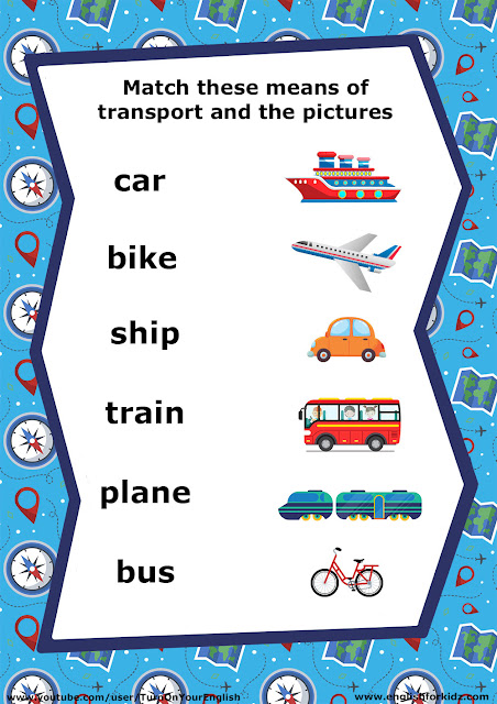 English for kids, transport vocabulary worksheet, matching words to pictures