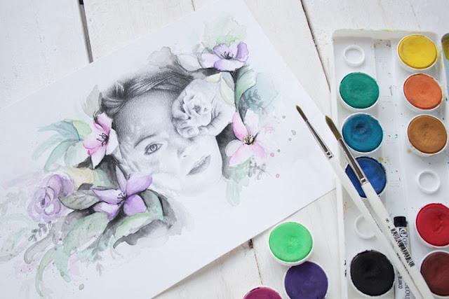 Ilustración realista a lápiz y acuarela