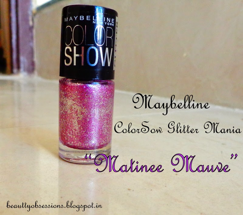 "Maybelline ColorShow Glitter Mania Nail Polish ""Matinee Mauve"" Review & Swatches"