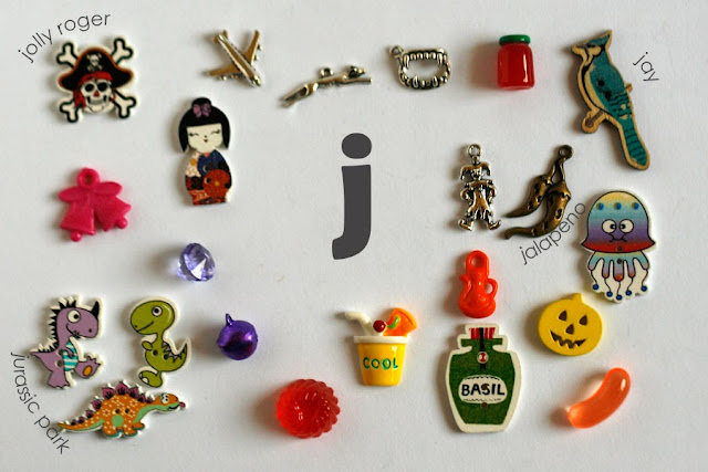 TomToy Individual letter J I spy trinkets for alphabet, Miniature abc objects, Montessori alphabet. Sorting toddler activities