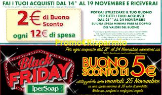 Logo Black Friday Ipersoap con buono sconto da 5 euro sicuro e non solo.