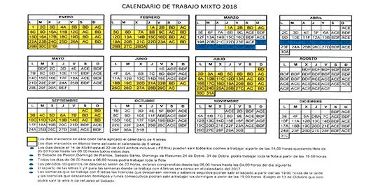 calendario descanso taxi sevilla 2018