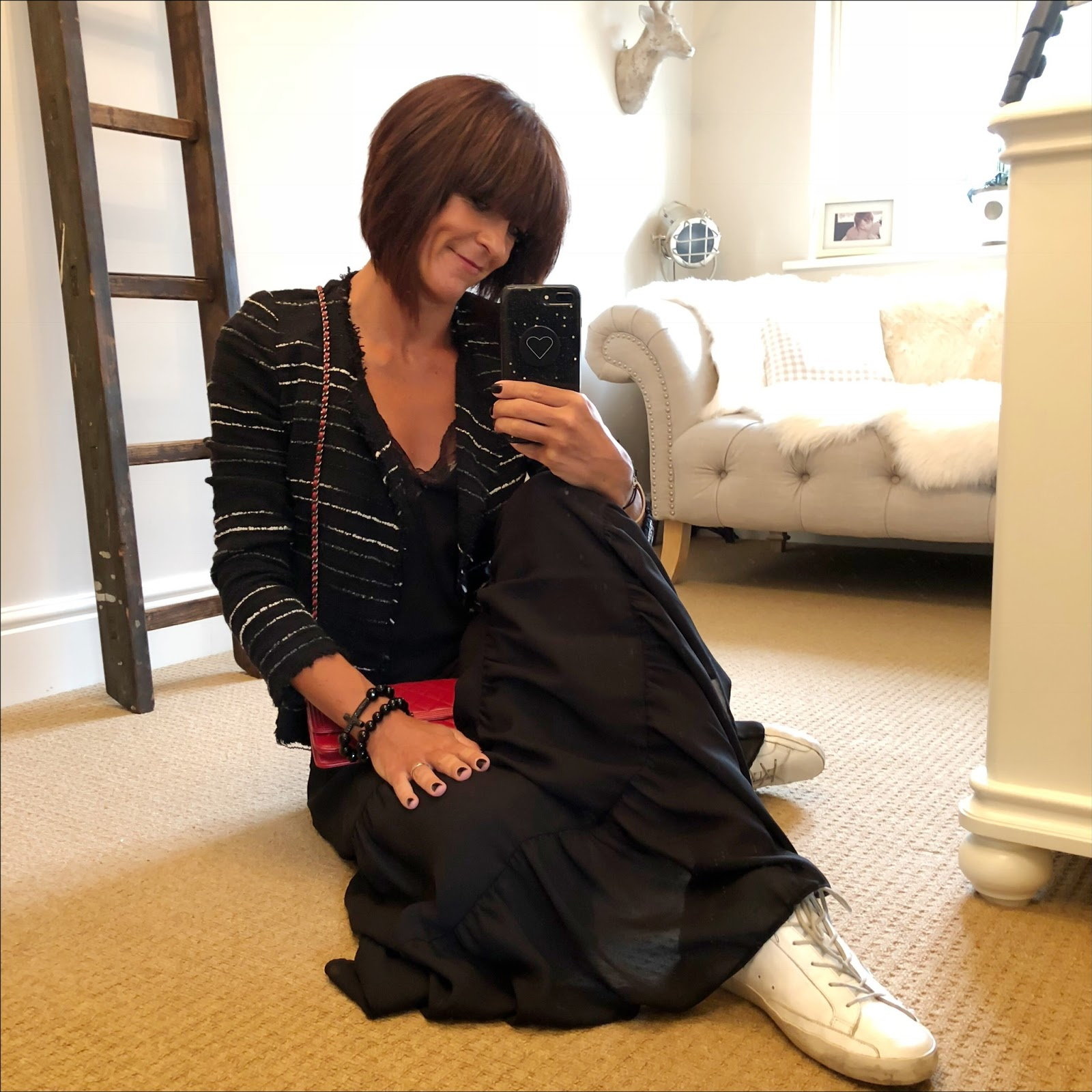 my midlife fashion, zara lace trim camisole, isabel marant etoile jacket, chanel wallet on chain, marks and spencer maxi skirt, golden goose superstar low top leather trainers