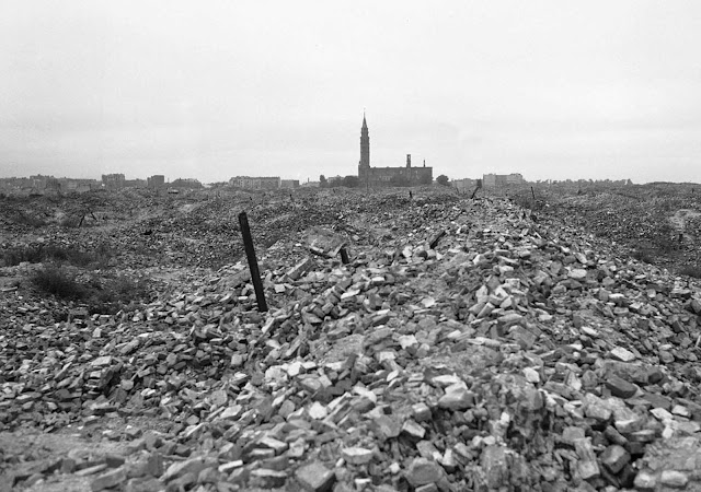 After the Warsaw Ghetto Uprising, the Ghetto was completely destroyed. Of the more than 56,000 Jews captured, about 7,000 were shot, and the remainder were deported to killing centers or concentration camps. This is a view of the remains of the ghetto, which the German SS dynamited to the ground. The Warsaw Ghetto only existed for a few years, and in that time, some 300,000 Polish Jews lost their lives there.