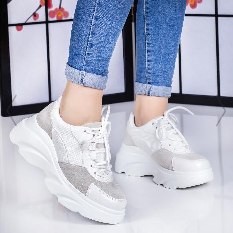 Pantofi dama sport albi ieftini cu talpa groasa de vara
