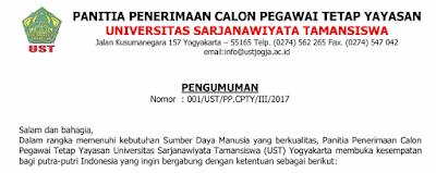 Penerimaan Pegawai Tetap Universitas Sarjanawiyata Tamansiswa (UST) Yogyakarta Tahun 2017